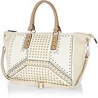 Cream stud panel holdall bag