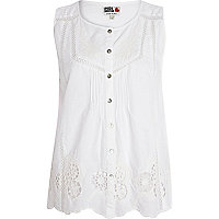 White Chelsea Girl broderie sleeveless shirt