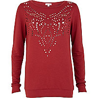 Red laser cut out sweatshirt
