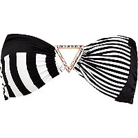 Black and white stripe panel bikini top