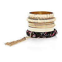 Gold tone floral bangle pack
