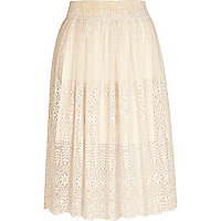 Cream lace midi skirt
