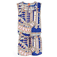 Blue Pacha geometric print tabard dress