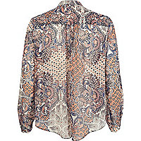 Blue Chelsea Girl paisley print sheer blouse