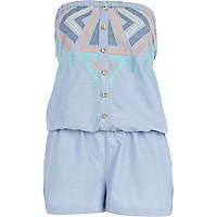 Blue chevron pattern chambray playsuit