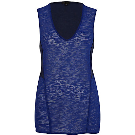 Blue textured contrast panel low scoop vest