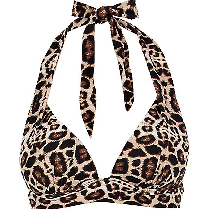 Brown leopard print push-up bikini top
