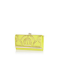 Yellow laser cut clip top purse