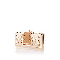 Cream contrast panel studded clip top purse