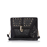 Black contrast panel studded clutch bag