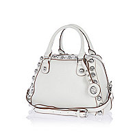 White dome studded bowler bag