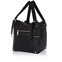 Black tumbled square slouch bag