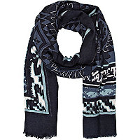 Blue denim-look aztec print scarf