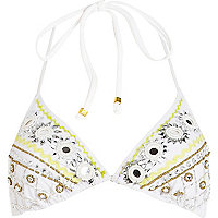White mirror embellished triangle bikini top