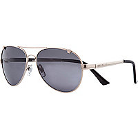 Gold tone metal dark lens aviator sunglasses