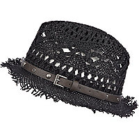 Black woven straw skull trim trilby hat