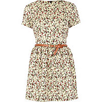 Cream floral print belted skater dress