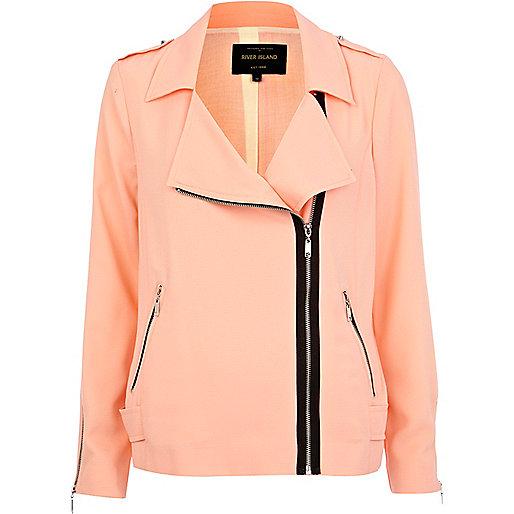 Coral light biker jacket
