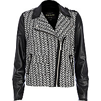 Black jacquard panel biker jacket