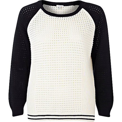Cream baseball raglan sleeve sweater