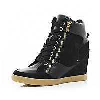 Black panel wedge high tops