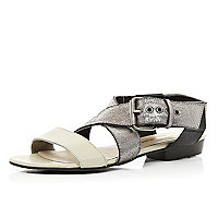 Silver colour block chunky strap sandals