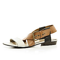 Brown colour block chunky strap sandals
