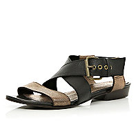 Black metallic strap sandals