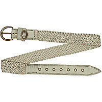 Light grey plaited belt