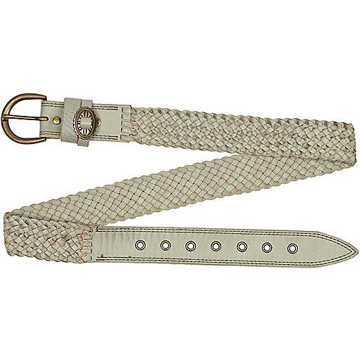 Light grey plaited belt