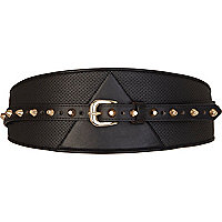 Black perforated chunky waist belt