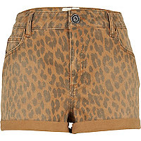 Beige leopard print denim shorts