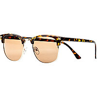 Brown tortoise shell retro geek sunglasses