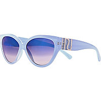 Light blue mirror cat eye sunglasses