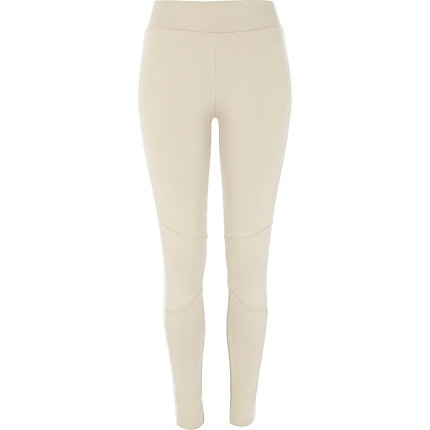 Beige motorcycle panel leggings