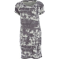 Grey scratch tie dye print t-shirt dress