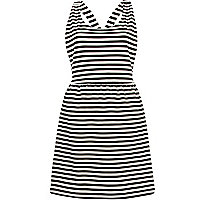 Black and white stripe pinafore dress