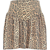 Beige faded animal print skater skirt