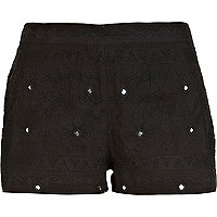 Black mirror embellished casual shorts