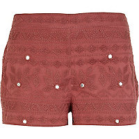 Red mirror embellished casual shorts