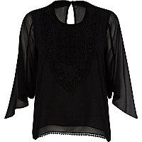 Black victoriana lace bib top