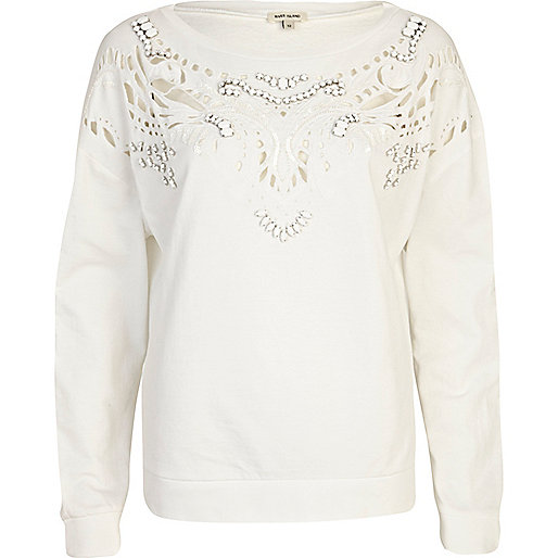 White embellished cut out sweatshirt