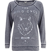 Navy washed wolf print sweatshirt