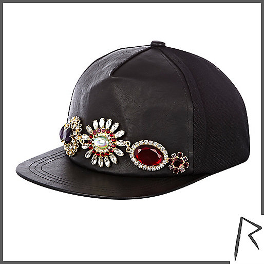 Black leather Rihanna gem stone trucker hat
