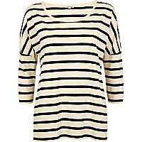 Navy striped drop sleeve boxy top