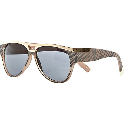 Light orange zebra metal plate sunglasses