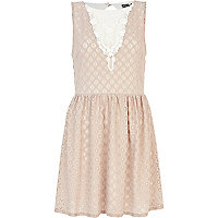 Beige Chelsea Girl lace insert skater dress