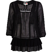 Black Chelsea Girl drop waist victoriana top