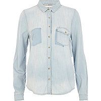 Light wash patch pocket denim shirt