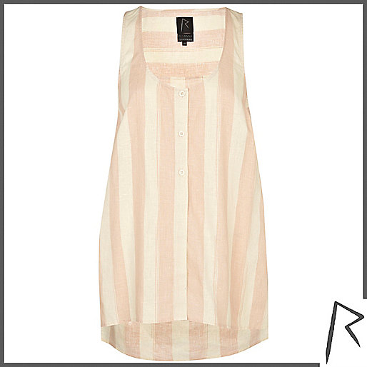 Pink stripe Rihanna linen sleeveless shirt